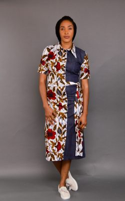 UGO ANKARA MIX SHIRT DRESS