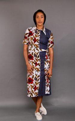 UGO ANKARA MIX SHIRT DRESS